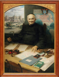 Painting of arnold Janssen at his desk by Br. Lukas Kolzem