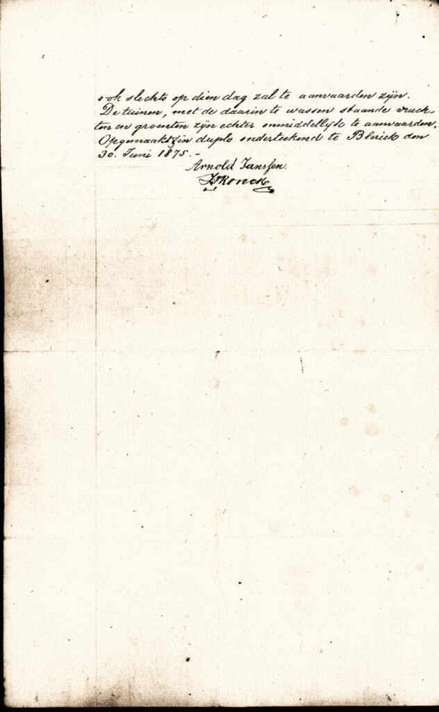 Purchase contract eighth page signed by Arnold Janssen