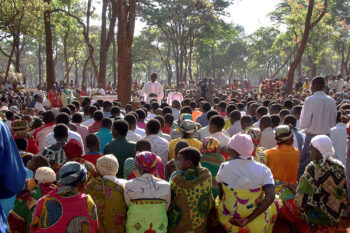 Religious service in the refugee camp in Tanzania