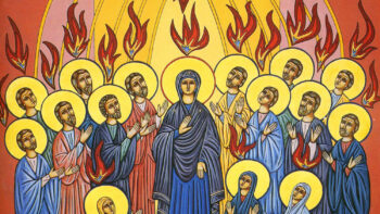 Coming of the Holy Spirit over the BLessed Virgen Mary and the Apostles