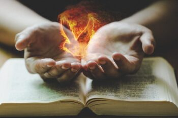 Bible, Hands with Flames of Fire