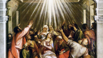 The Apostles and the Virgin Mary united in Prayer