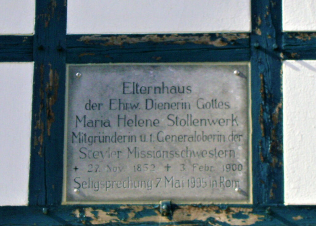 Plaque identifying the house where Helena Stolenwerk lived with her family before going to Steyl