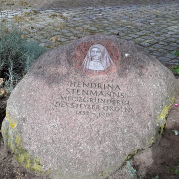 Monumental Stone to Mother Josepha, in the Garden of St Nicholas Parish, in Issum