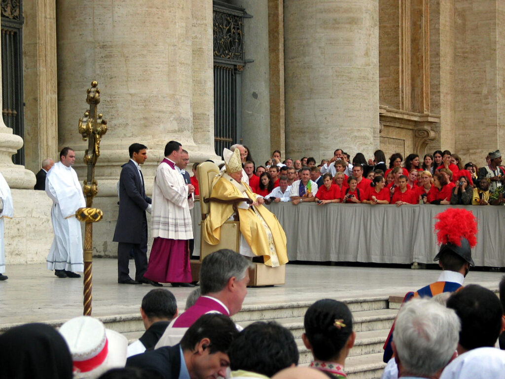 Pope John Paul II during celebration of canonization