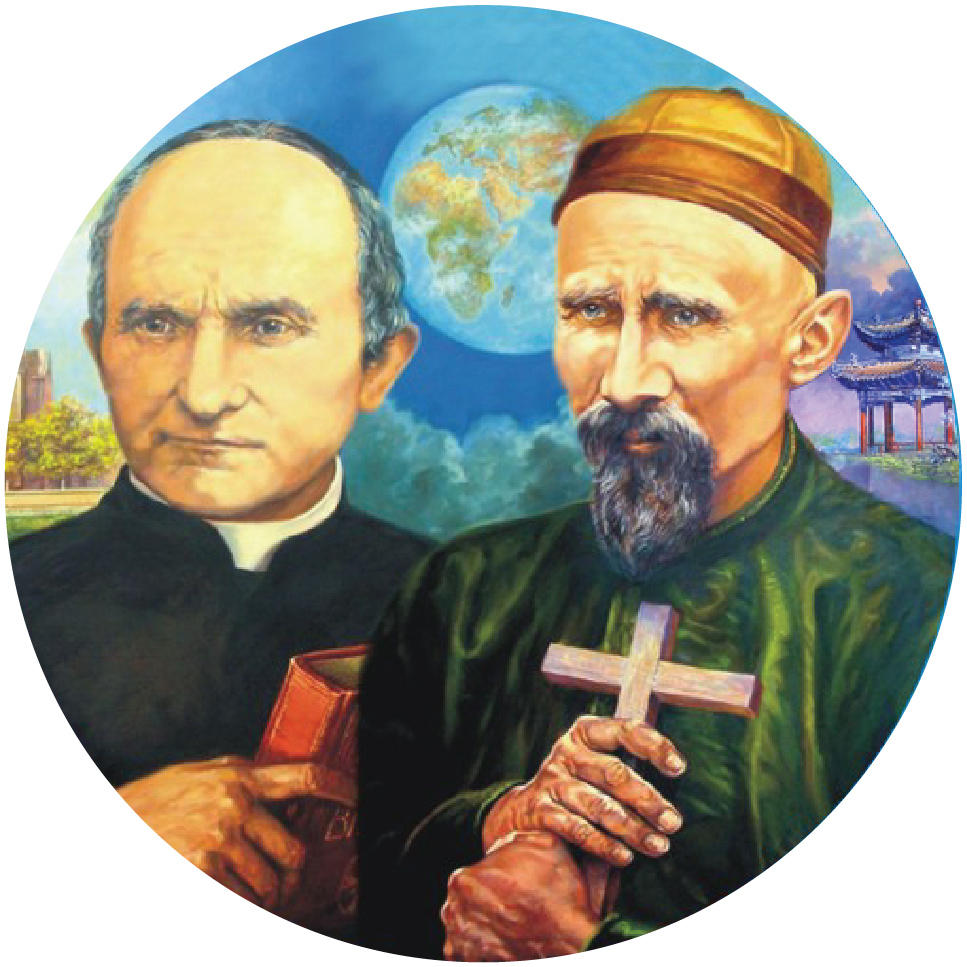 Circular illustration with Saint Arnold and Saint Joseph Freinademetz together