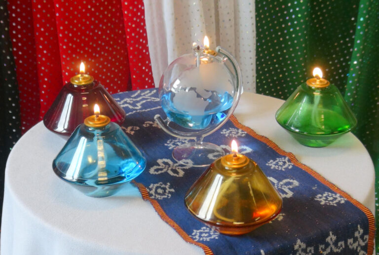 Five Glass Lamps, with Missionary Colors, Representing the Five Continents.