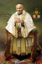 Painting of Arnold Janssen praying kneeling (collor)