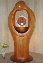 Tabernacle Carved in Wood, Silhouette of two people who meet, Monstrance with the Blessed Sacrament